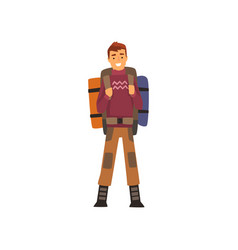 Smiling man with backpack outdoor adventures vector