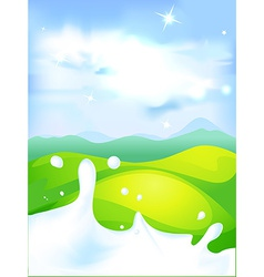 splash of milk - with green field and natura vector image