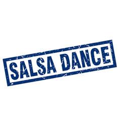 Square grunge blue salsa dance stamp vector