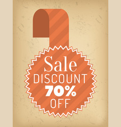 stamp with round label 70 percent sale discount vector image