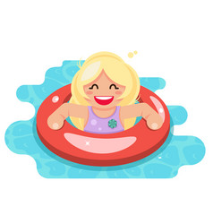Swiming girl swim ring pool water flat design vector