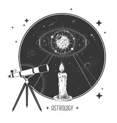 Telescope and all seeing eye in outer space vector