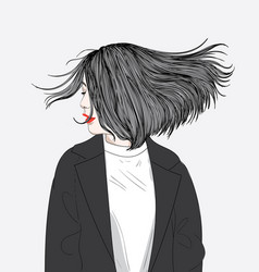 this girl hair hits the wind vector image