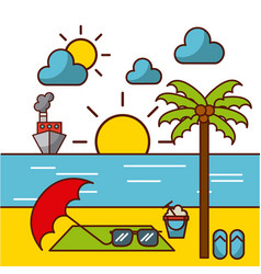 Tropical beach and related icons image vector