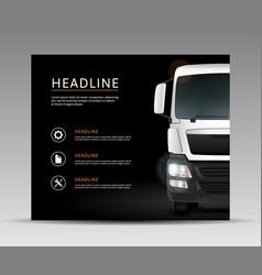Truck on black background vector