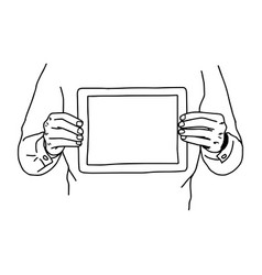 Two hands holding tablet on his chest - vector