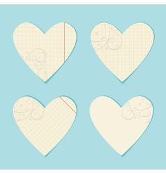 Valentine paper hearts vector image