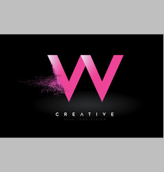 W letter logo with dispersion effect and purple vector