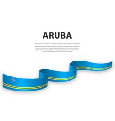Waving ribbon or banner with flag aruba vector