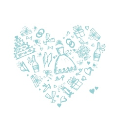 Wedding background heart shape for your design vector image