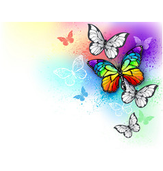 white background with rainbow butterfly vector image