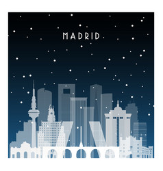 winter night in madrid night city in flat style vector image