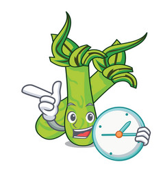 With clock wasabi character cartoon style vector