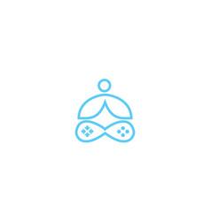 Yoga game line logo design vector
