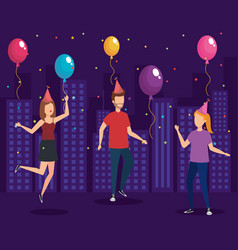 Young people on a party design vector