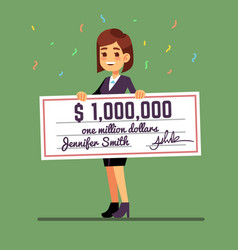 Young smiling woman holding money prize check for vector