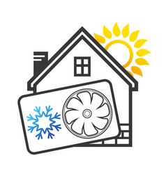 Air conditioning house silhouette vector