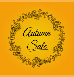 autumn sale banner with wreath vector image vector image