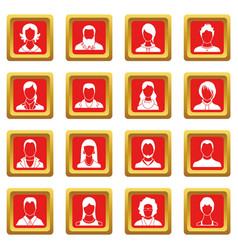 avatars set icons set red vector image vector image
