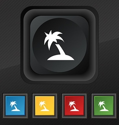 Palm tree travel trip icon symbol set of five vector