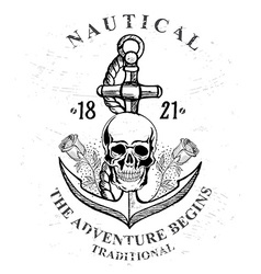 Pirate skull with anchor design vector