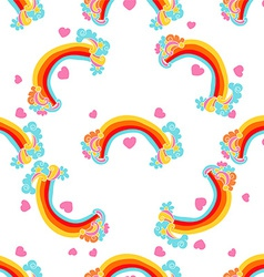 Rainbows Sky and Clouds Seamless Pattern vector image vector image
