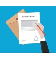 Signing excess returns paperworks on top of table vector