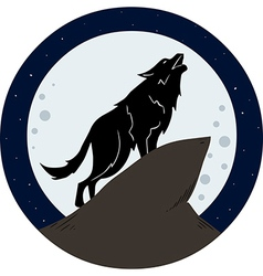 Wolf Howling To The Moon At Night vector image
