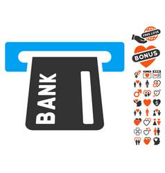 Banking atm icon with love bonus vector