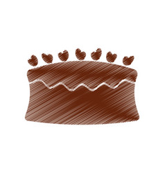 drawing cake chocolate eating vector image vector image