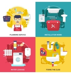 Plumbing Service 4 Flat Icons Square vector image
