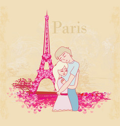 romantic couple in paris - abstract card vector image vector image