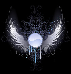 round banner with angel wings vector image