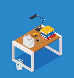 busy cluttered office table hard work office vector image vector image