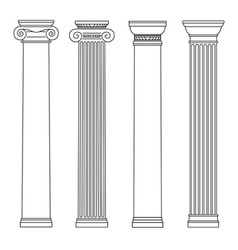 isolated set of columns black and white line vector image