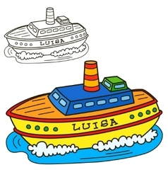Motor ship Coloring book page vector image vector image