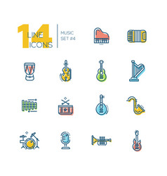 musical instruments - thick line icons set vector image