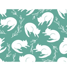 Seamless pattern with cats and a grass on vector image vector image