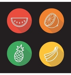Tropical fruits flat linear icons set vector image vector image