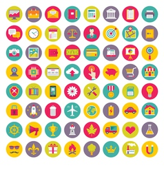 64 Icons in Flat Design Style vector image vector image