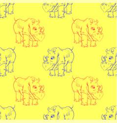 cartoon rhino seamless pattern vector image vector image