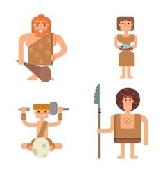 Caveman primitive stone age people vector