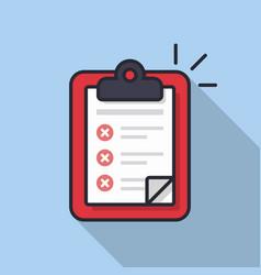 clipboard with checklist icon flat vector image vector image