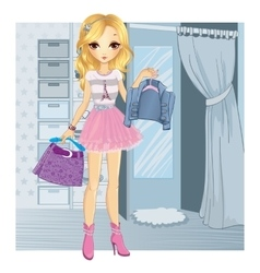 Fashion Girl Chooses Clothes vector image