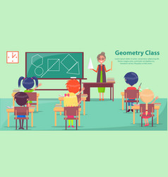geometry class with woman teaching small students vector image