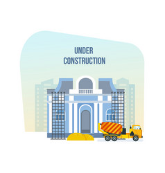 museum under construction next to machinery vector image