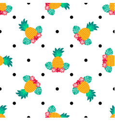 seamless tropical pattern with pineapples vector image