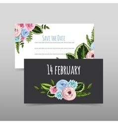 Set of valentines cards with painted flower vector image vector image