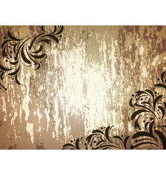 wooden background with floral frame vector image vector image