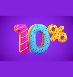 10 percent off discount dessert composition 3d vector